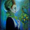 Himmel, Ausdruck, Vogel, Acrylmalerei