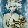 Herbst, Haare, Blick, Acrylmalerei