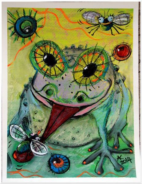 Fliege, Frosch, Zeichnung, Lachen, Tiere, Freude