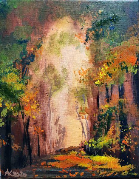 Herbst, Spaziergang, Laub, Baum, Weg, Blätter