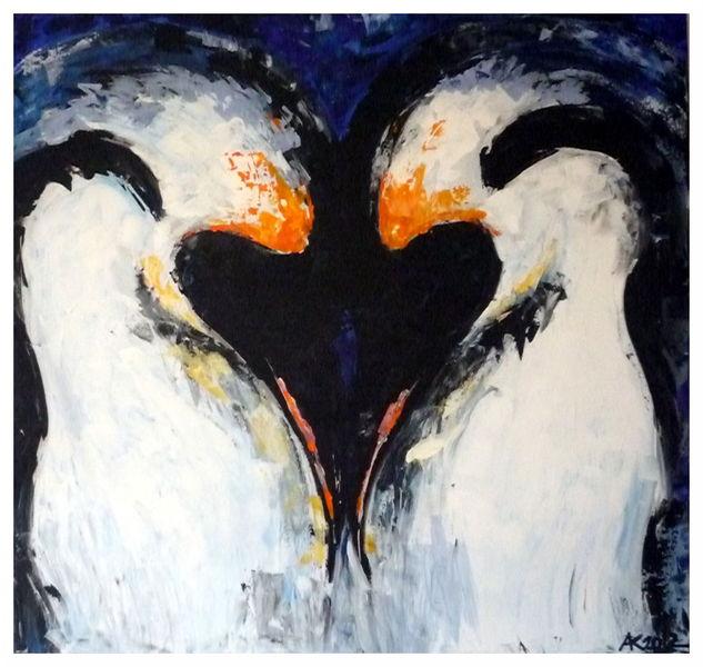 Groß, Liebe, Abstrakt, Pinguin, Malerei, Tiere
