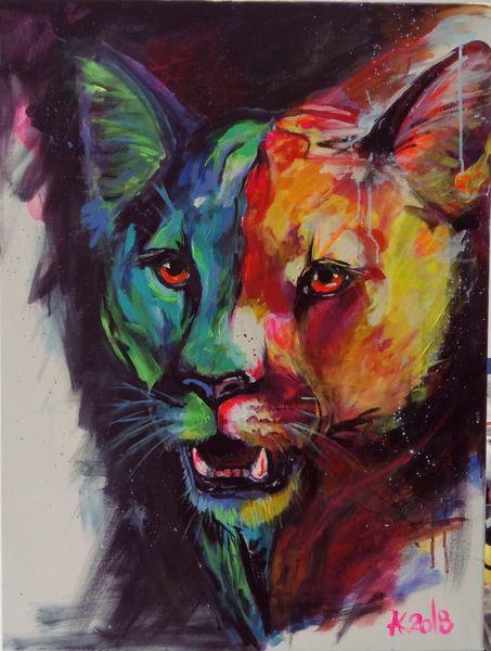 Löwe, Raubtier, Etsy, Expressionismus, Puma, Portrait