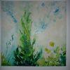 Wiese, Blumen, Grün, Malerei