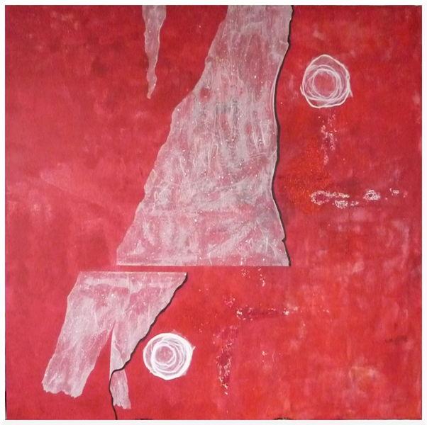 Abstrakt, Weiß, Rot schwarz, Malerei, Mond