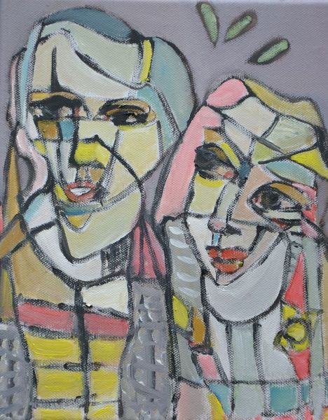 Paar, Mund, Mosaik, Schwarze linien, Augen, Bunt