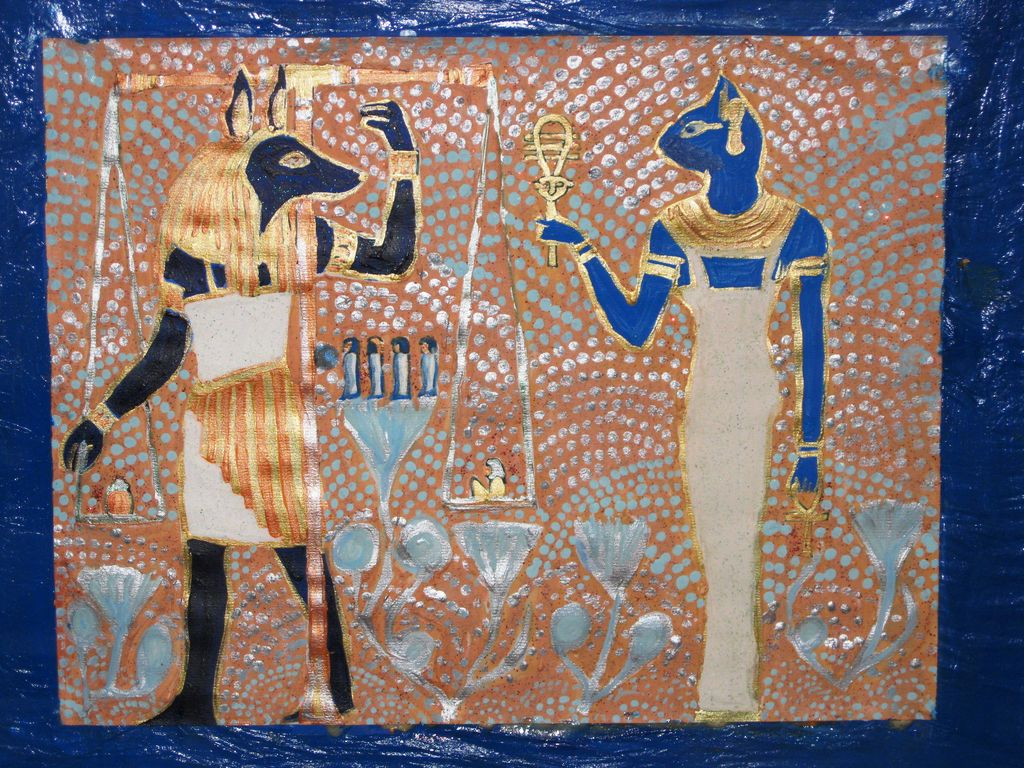 Aegyptische Dekoration Katze Gold 196 Gypten Hund Von