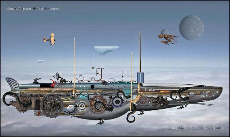 Steampunk, Science fiction, Zeichnung, Zeit, Zeppelin, Afrika
