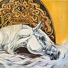 Weiß, Oranemnte, Pferde, Malerei