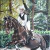 Pferde, Sprung, Wald, Malerei
