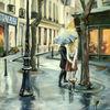 Architektur, Menschen, Regen, Straße