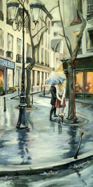 Regen, Straße, Architektur, Menschen, Malerei, Frankreich