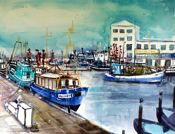Aquarellmalerei, Bootssteg, Boot, Rügen, Hafen, Fischkutter
