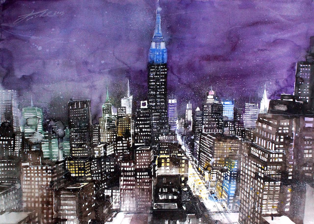bild new york citylights usa cityscapes von johann pickl bei kunstnet. Black Bedroom Furniture Sets. Home Design Ideas