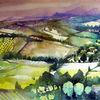 Feld, Oberitalien, Aquarellmalerei, Landschaft