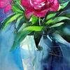 Blumen, Glasvase, Blumenstillleben, Aquarellmalerei