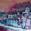 Dom zu salzburg, Salzburg, Festung, Aquarellmalerei