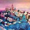 Dorf, Aquarellmalerei, Montalcino, Landschaft