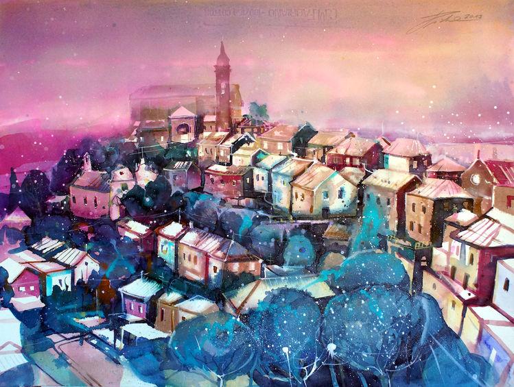 Montalcino, Landschaft, Italien, Toskana, Dorf, Aquarellmalerei