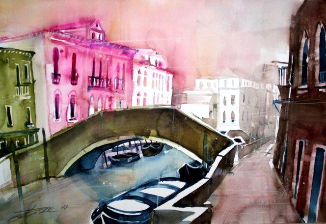 Venedig, Italien, Aquarellmalerei, Boot, Kanal, Aquarell