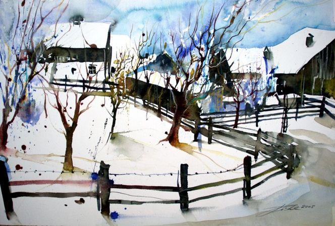 Bauernhaus, Aquarellmalerei, Winterlandscape, Winterlandschaft, Österreich, Aquarell