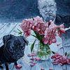 Mops, Churchill mit zigarre, Pfingstrosen, Kauknochen