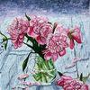 Pringstrosen, Vase mit z, T verblühenden pfingstrosen, Malerei