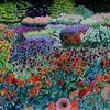 Ölmalerei, Dahliengarten, Hommage, Blüte
