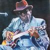 Musiker, Portrait, Schatten, Buntstiftzeichnung auf zeichenkarton