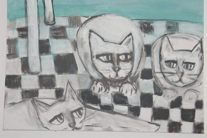Freunde, Katze, Malerei, Tiere