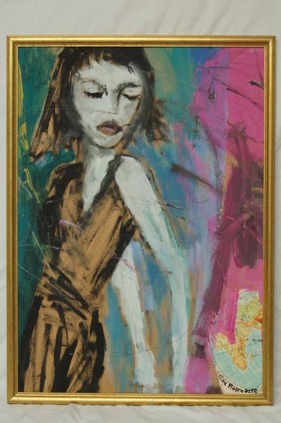 Dürr, Pink, Frau, Malerei, Menschen