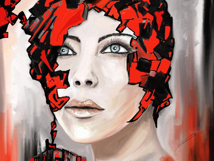 Fantasie, Gedanken, Frau, Balans, Digitale kunst, Surreal