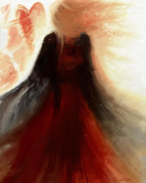 Fantasie, Gefühl, Rot schwarz, Frau, Digitale kunst, Surreal