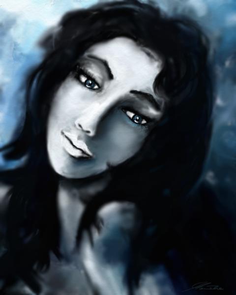 Frau, Rückblick, Blau, Fantasie, Digitale kunst, Malerei