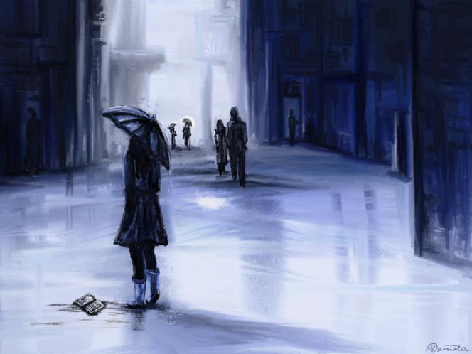 Erinnerung, Frau, Tagebuch, Blau, Regen, Buch