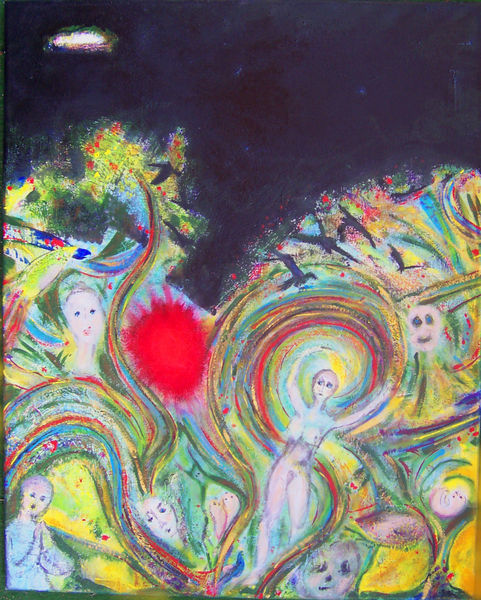 Schwarz, Bunt, Figurativ, Acrylmalerei, Malerei