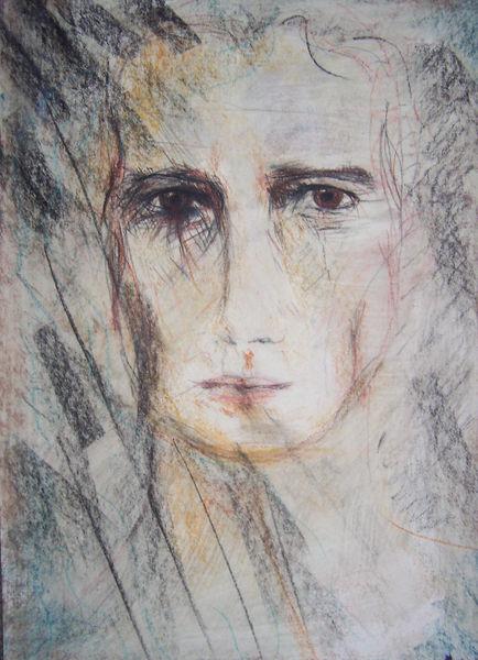 Gesicht mann ölkreide, Zeichnungen, Portrait