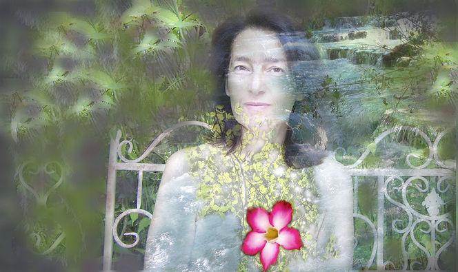 Pflanzen, Ornamente, Garten, Magenta, Mixed media, Portrait