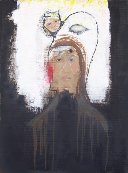 Selfie, Schwarz weiß, Pappe, Acrylmalerei, Malerei, Figural