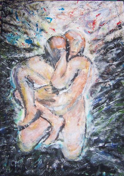 Paar, Acrylmalerei, Bunt, Schwarz, Umarmung, Malerei