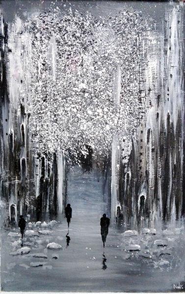 Schwarz weiß, Baum, Eisig, Winter menschen, Malen, Malerei