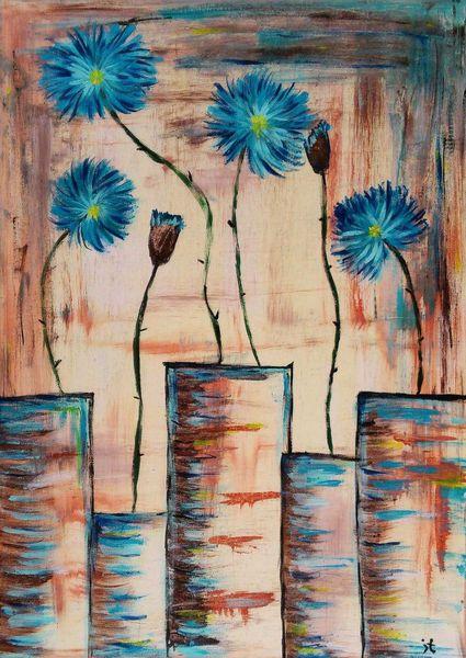 Kornblumen, Malerei, Abstrakt
