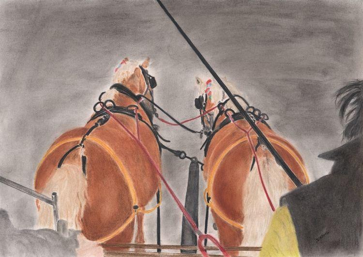 Kutsche, Tiere pferd, Haflinger, Nach photo, Zeichnung pastell, Zeichnungen