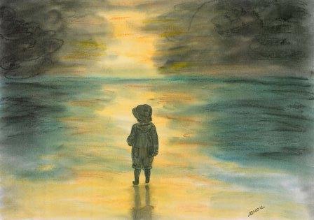 Sonne, Kind, Menschen, Meer, Natur, Dämmerung