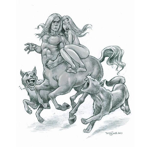 Frau, Wolf, Zentaur, Zeichnungen