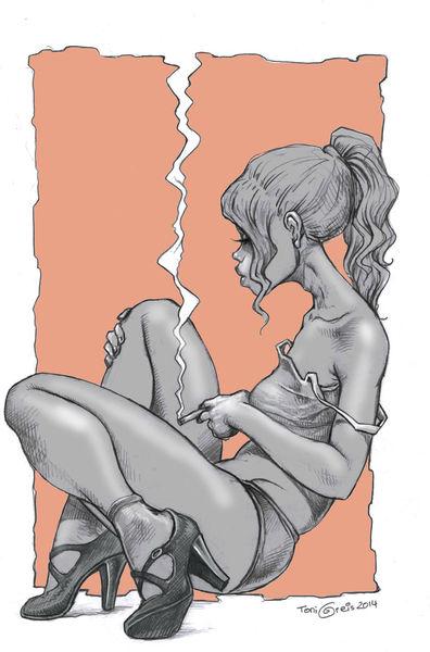Frau, Rauchen, Zigarette, Zeichnungen