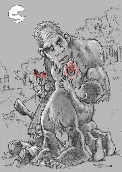 Jagd, Bigfoot, Sasquatch, Jäger, Zeichnungen, Kinder
