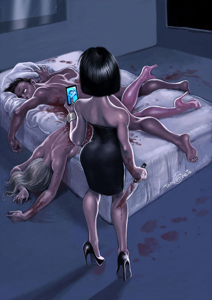 Mord, Messer, Smartphone, Illustrationen