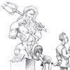 Poseidon, Bleistiftzeichnung, Hygeia, Cartoon