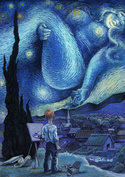 Van gogh, Himmel, Nacht, Stern, Illustrationen