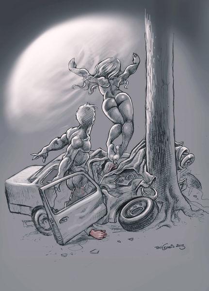Unfall, Licht, Tod, Zeichnungen